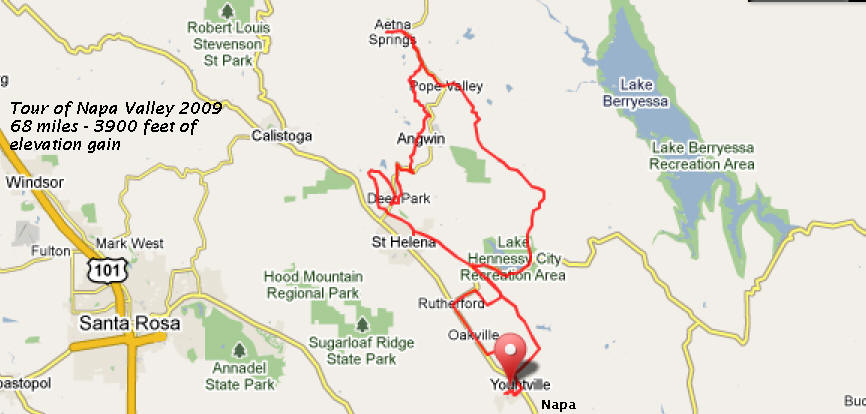 Tour of Napa Route